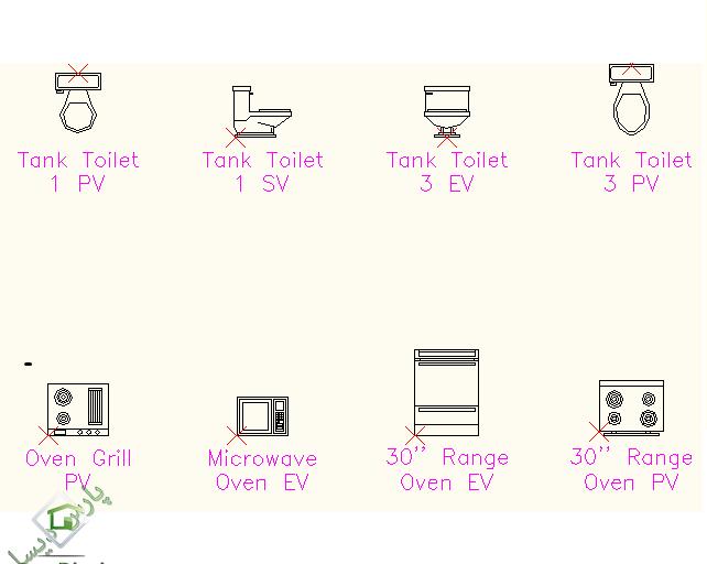 آبجکت های طراحی داخلی نرم افزار اتوکد