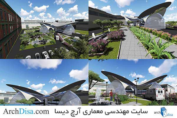 طرح معماری نقشه کامل بیمارستان به همراه رندرهای سه بعدی