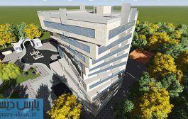 طرح معماری پلان های کامل مجتمع اداری به همراه رندرهای سه بعدی