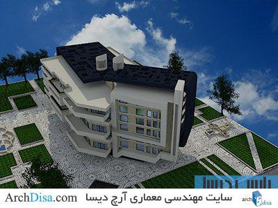 طرح معماری پلان کامل مجتمع مسکونی به همراه رندرهای سه بعدی