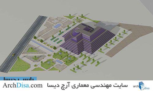 طراحی معماری نقشه مجتمع تجاری چند منظوره به همراه رندرهای سه بعدی