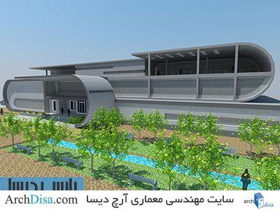 طراحی معماری نقشه کتابخانه به همراه رندرهای سه بعدی