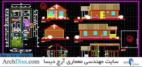 نقشه های کامل خانه روستایی شامل پلان های طبقه ، نما و برش