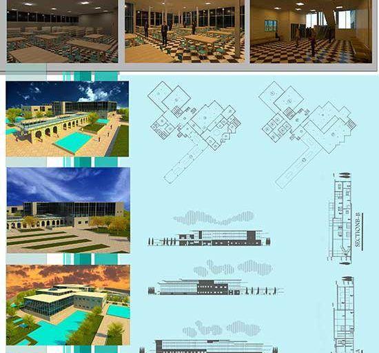 طراحی کتابخانه مرکزی شامل رساله ، پلان ، Revit ، رندر و پوستر PSD