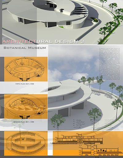 پروژه موزه گیاه شناسی با رویکرد معماری پایدار، پلان، رساله، سه بعدی ، پوستر