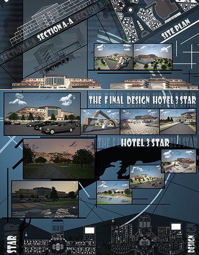 پروژه هتل شامل پلان ، حجم اتوکدی ، رساله ، رندرهای سه بعدی و شیت بندی