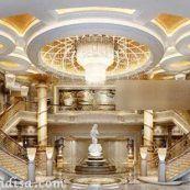 صحنه داخلی دفتر اداری مدرن سبک طلایی برای ۳ds max
